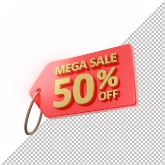3d badge mega sale 50% korting geïsoleerd