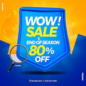 3d-badge-tekstvak met wow-verkoop en 80 procent korting