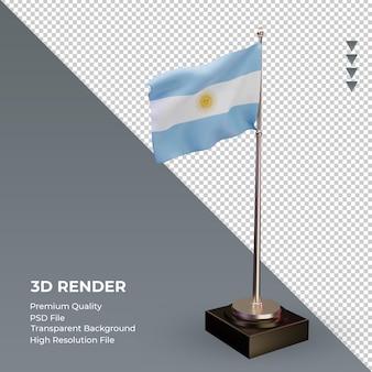 3d bandera argentina renderizado vista izquierda