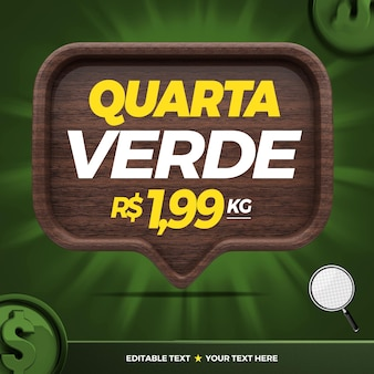 3d banner groene vierde voor marketingcampagne in brazilië
