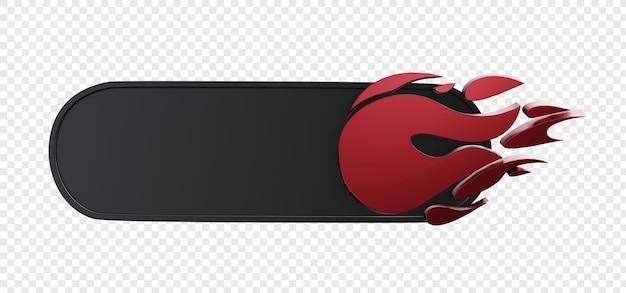 3d-banner met realistisch geïsoleerd vuursymbool