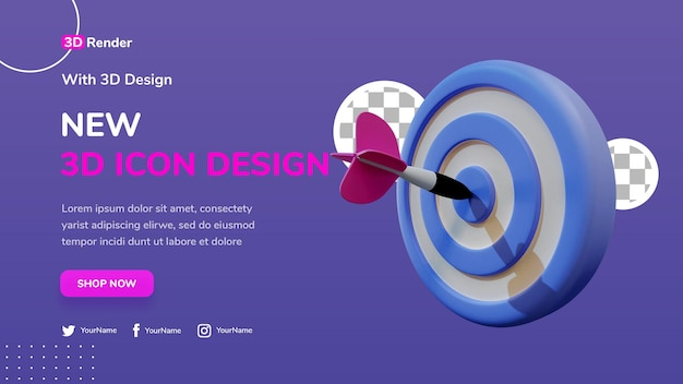 3d banner sjabloon concept doel met pijl in de roos