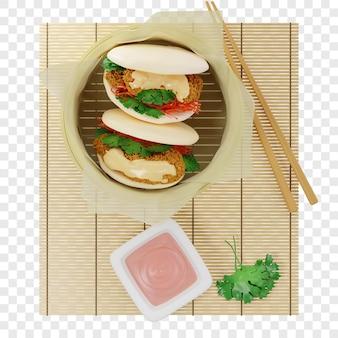 3d bao buns gestoomd met tempura garnalen geserveerd in een bamboe steamer op perkamentpapier met saus
