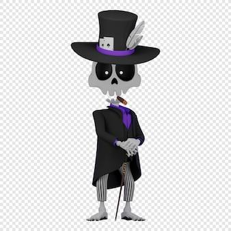 3d baron zaterdag in een zwarte rok en een zwarte hoge hoed die een sigaar rookt el da de muertos vakantie