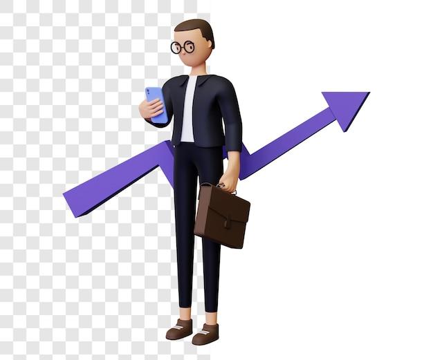 3d bedrijfsgroei illustratie concept