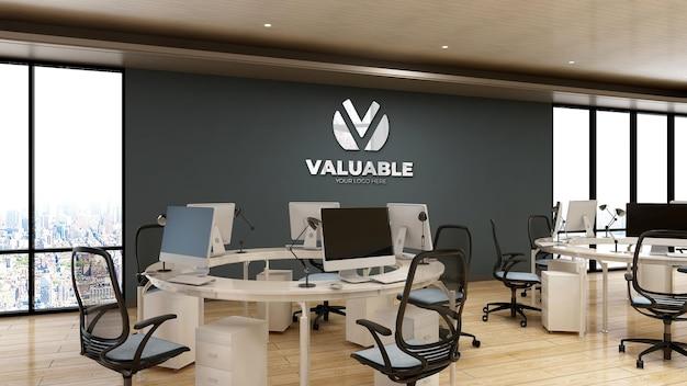 3d bedrijfslogo mockup in de kantoorwerkruimte