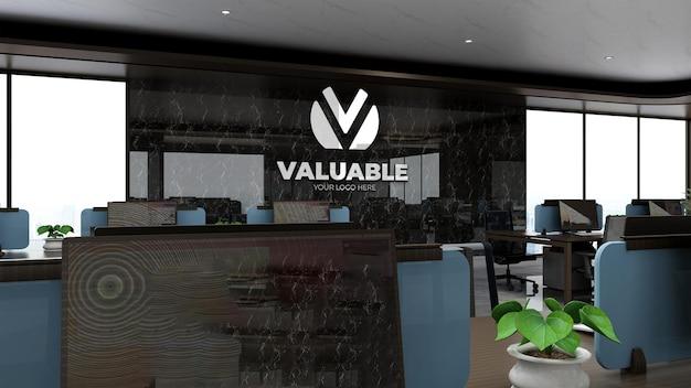 3d bedrijfslogo mockup in het luxe kantoorwerkruimtegebied