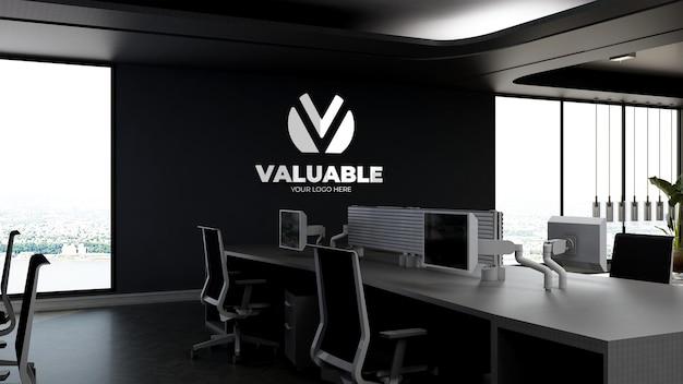 3d bedrijfslogomodel in de moderne kantoorwerkruimte in de hoge lucht