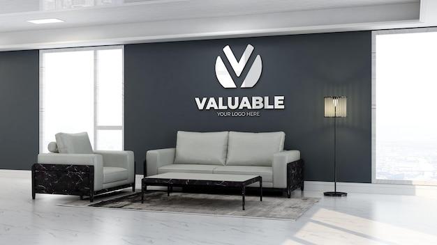 3d bedrijfslogomodel in de wachtkamer van de kantoorlobby