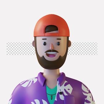 3d-beeldverhaalkarakter avatar geïsoleerd in 3d-rendering