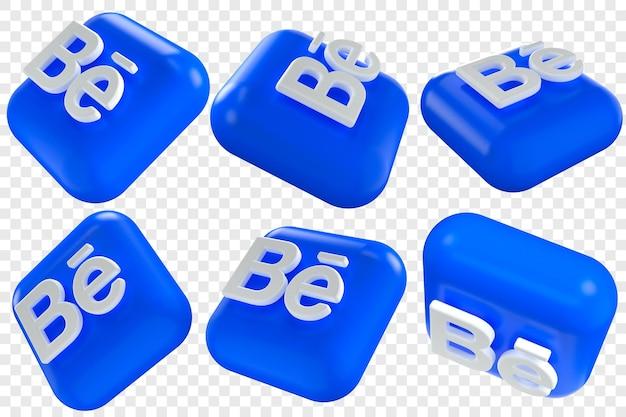 3d behance-pictogrammen in zes verschillende hoeken geïsoleerde illustraties