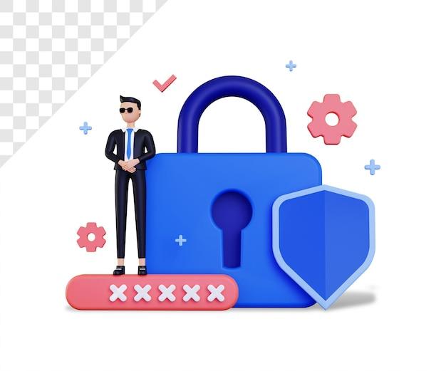 3d-beveiliging met groot slot en beschermingspictogram