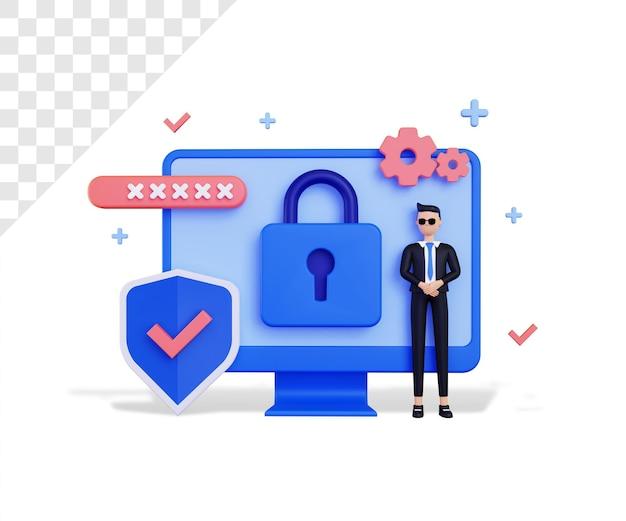 3d-beveiliging met mannelijk karakter en beschermingspictogram