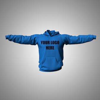 3d bewerkbare hoodie mock-up ontwerp