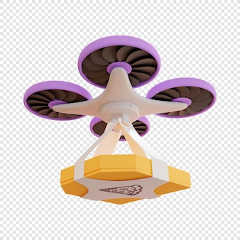 3d bezorging van een pakket met pizza door drone contactloze bezorging van voedselbezorging moderne technologieën
