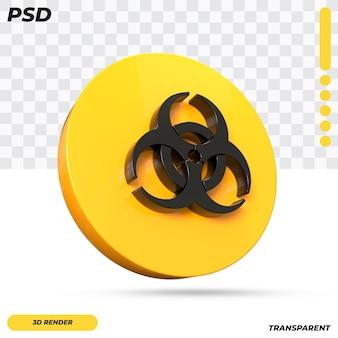 3d-biologische gevaarsymbool ontwerp geïsoleerd