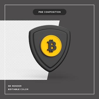 3d bitcoin-veiligheidsschild