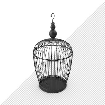 3d black bird cage geïsoleerde eerste hoek