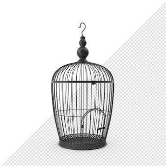 3d black bird cage geïsoleerde tweede hoek