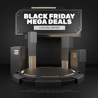 3d black dark steel lookpodium product display