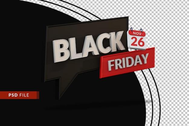 3d black friday-banner voor grote verkoop