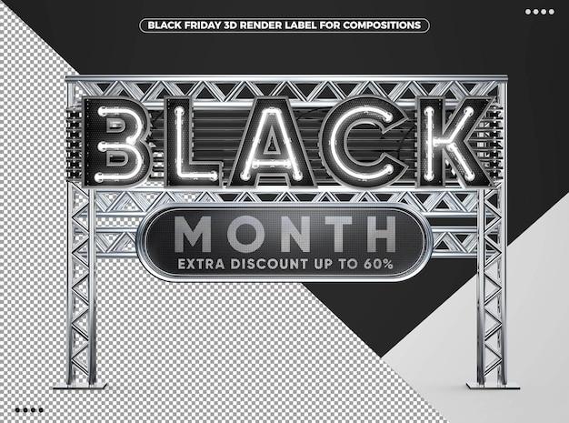 3d black friday-maandweergave voor composities