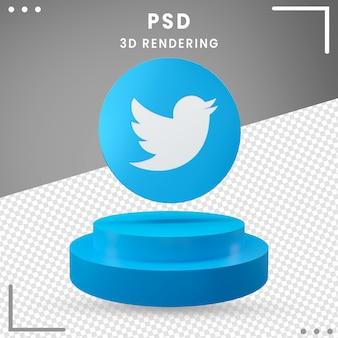 3d blauw gedraaid embleem geïsoleerdt twitter