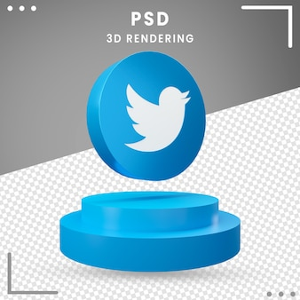 3d blauw gedraaid embleempictogram geïsoleerdt twitter