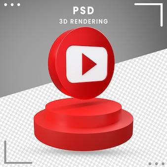 3d blauw gedraaid pictogram youtube geïsoleerd