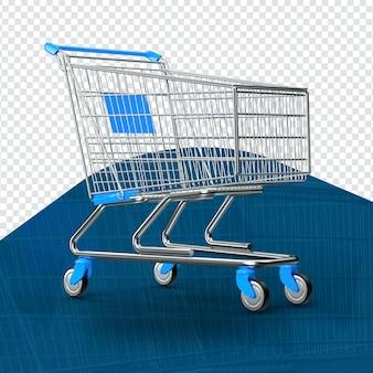3d blauw geïsoleerd boodschappenwagentje