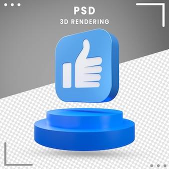 3d-blauwe pictogram gedraaid als