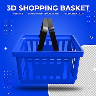 3d blauwe plastic geïsoleerde winkelmand