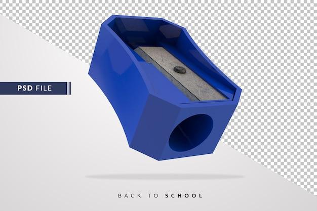 3d blauwe puntenslijper een instrument voor leerlingen terug naar school