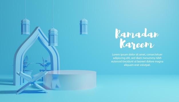 3d blauwe ramadan kareem-achtergrond met podium en tekst Premium Psd