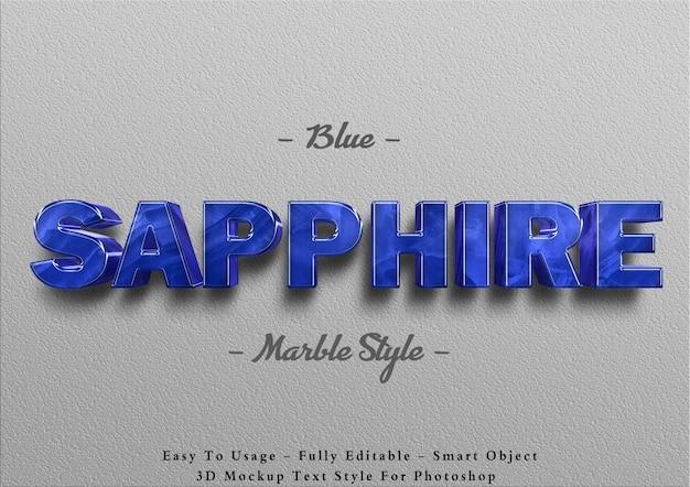 3d blauwe saffier marmeren teksteffect sjabloon