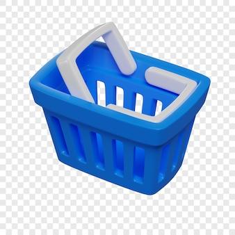 3d blauwe winkelmand online winkelen concept geïsoleerde illustratie 3d-rendering