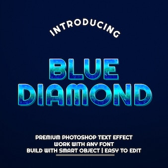 3d blue diamond effetto testo premium psd
