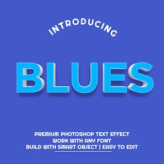 3d blues effetto testo premium psd