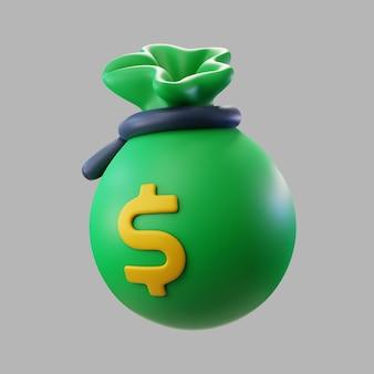 3d bolsa verde de dinero con signo de dólar