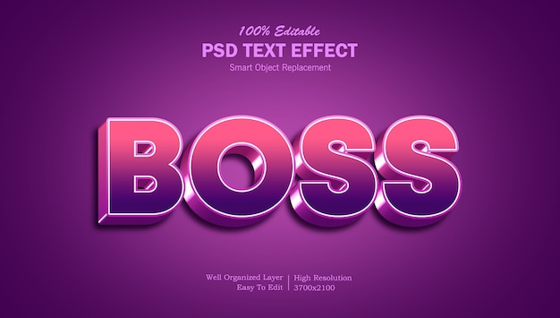 3d boss-teksteffectsjabloon