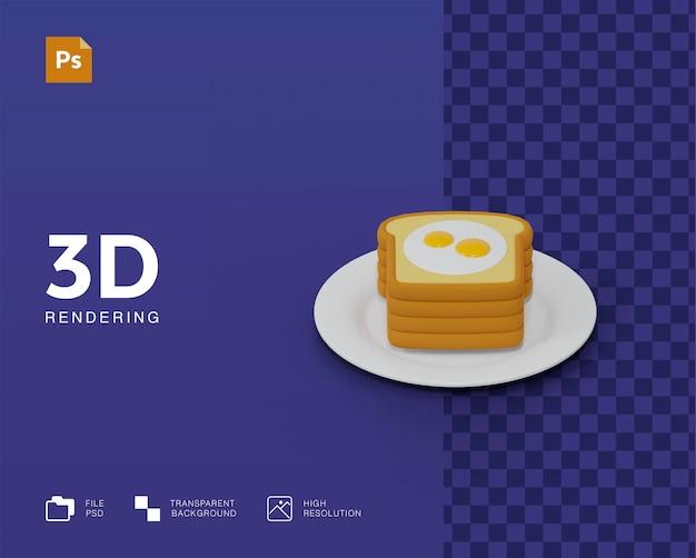 3d brood met ei-illustratie Premium Psd