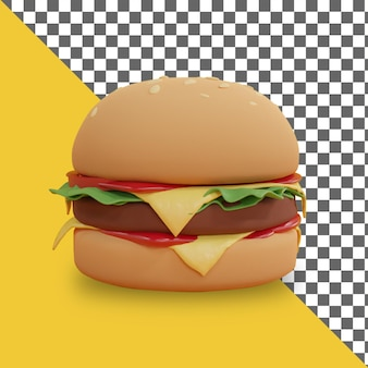3d cartoon burger render design