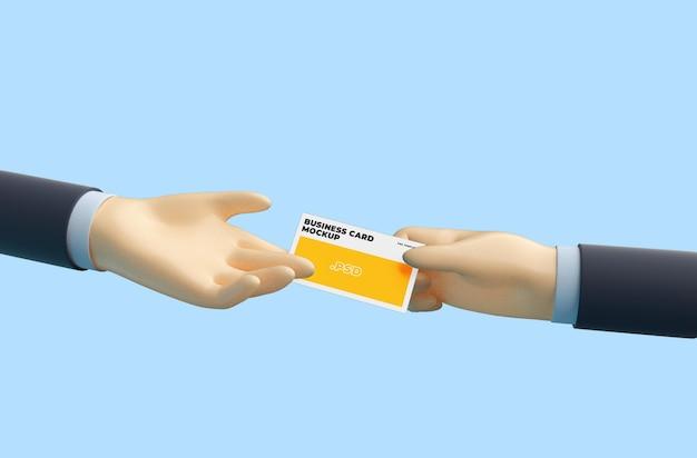 3d-cartoon hand met visitekaartje mockup