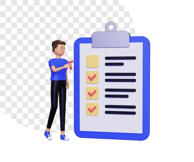 3d-checklistillustratie met mannelijk karakter met vinkje