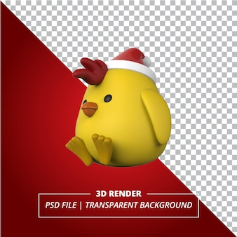 3d chick-kerstmuts op transparante achtergrond