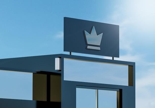 3d chromen logo mockup moderne gevel teken op modern gebouw