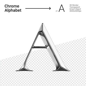 3d-chroom alfabet letter a.