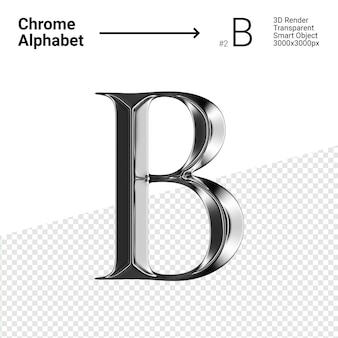 3d-chroom alfabet letter b.