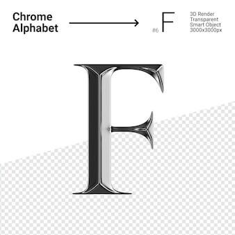 3d-chroom alfabet letter f.