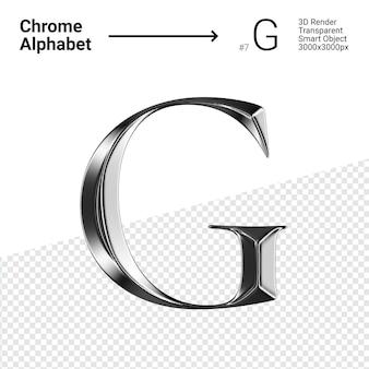 3d-chroom alfabet letter g.